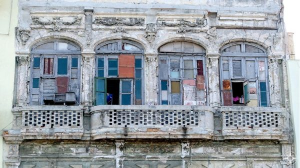 Colorful windows and shutters on the classic buildings, Havana, Cuba