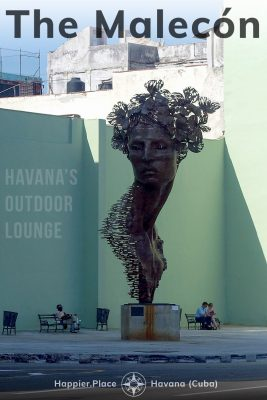 The Malecón, Havana's Outdoor Lounge, Primavera sculpture, woman's head