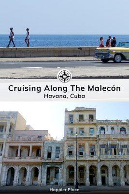 Cruising Along The Malecón, Havana, Cuba, girls walking on seawall, yellow classic car, colorful facades