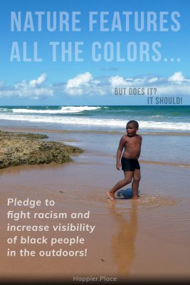 Black boy on the beach with reflection, Pledge to fight racism and increase visibility of black people in the outdoors, nature features all the colors, but does it, it should