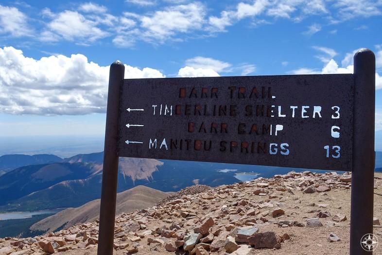 Hiking Trails sign, Pikes Peak, Manitou Springs, Colorado