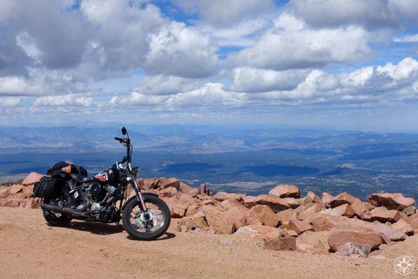 Harley motorcycle bike on the summit ofPikes Peak, Colorado