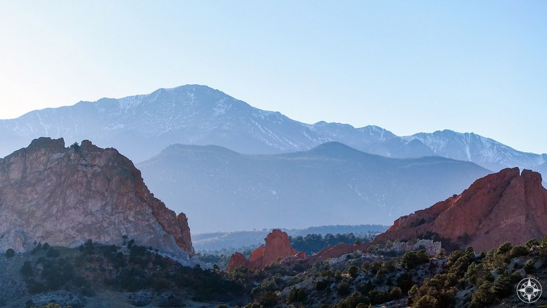 You can see Pikes Peak from the nearby Garden of the Gods.