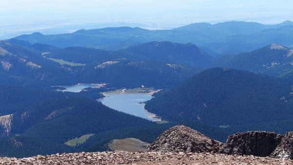 Mountain lakes seen from mountain top