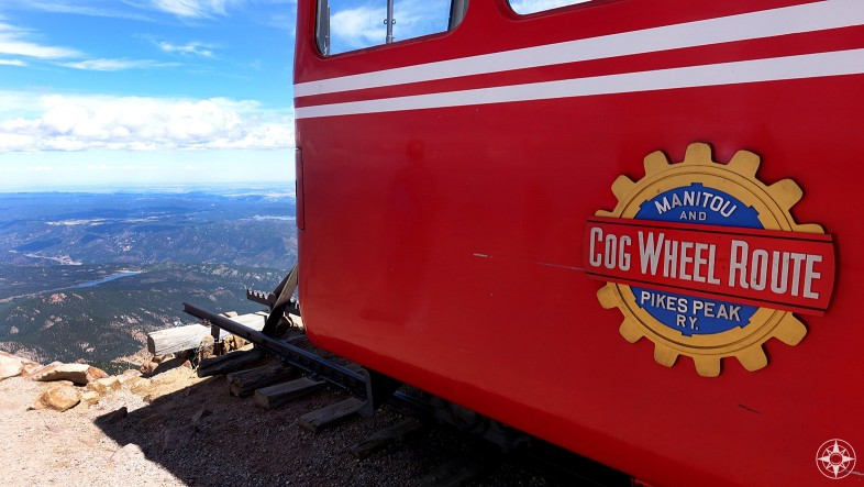 Manitou - Pikes Peak Cog Wheel Railroad car at the end of the line on the mountain top