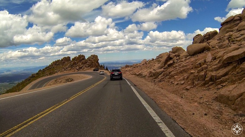 One of those infamous hairpin turns on the way back down Pikes Peak Highway.