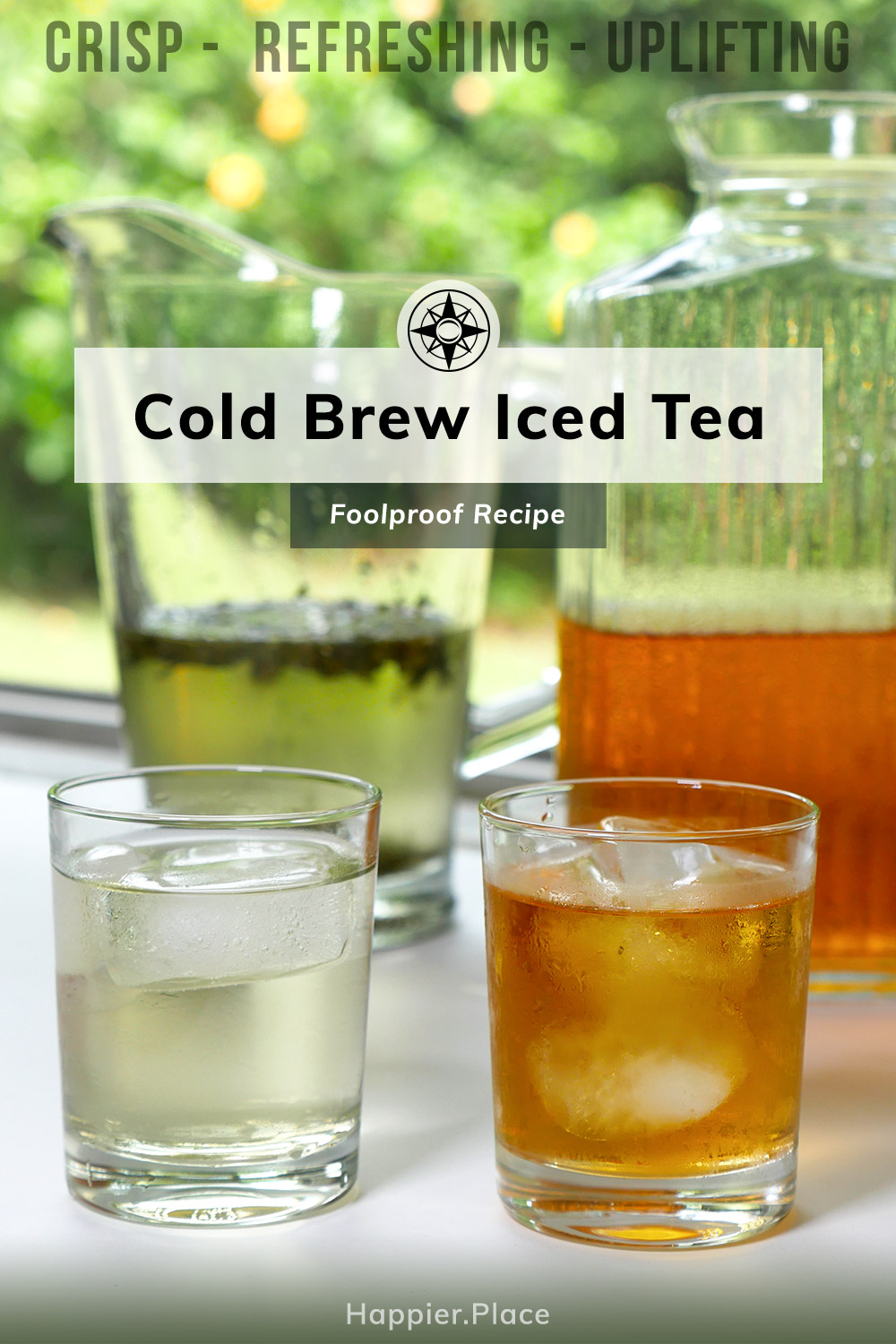 Foolproof recipe for green and black cold brew iced tea. Crisp, refreshing, uplifting and never bitter.