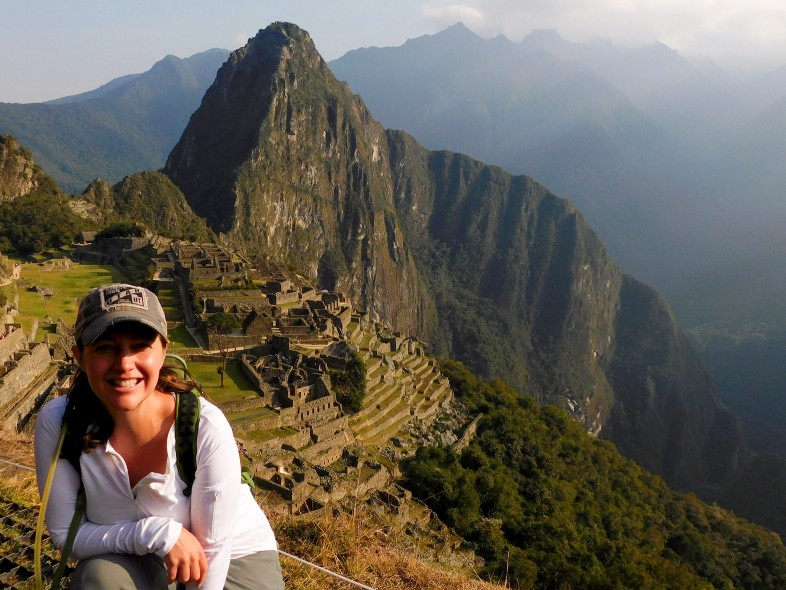 Outdoor mysteries author and avid hiker at Machu Picchu in Peru