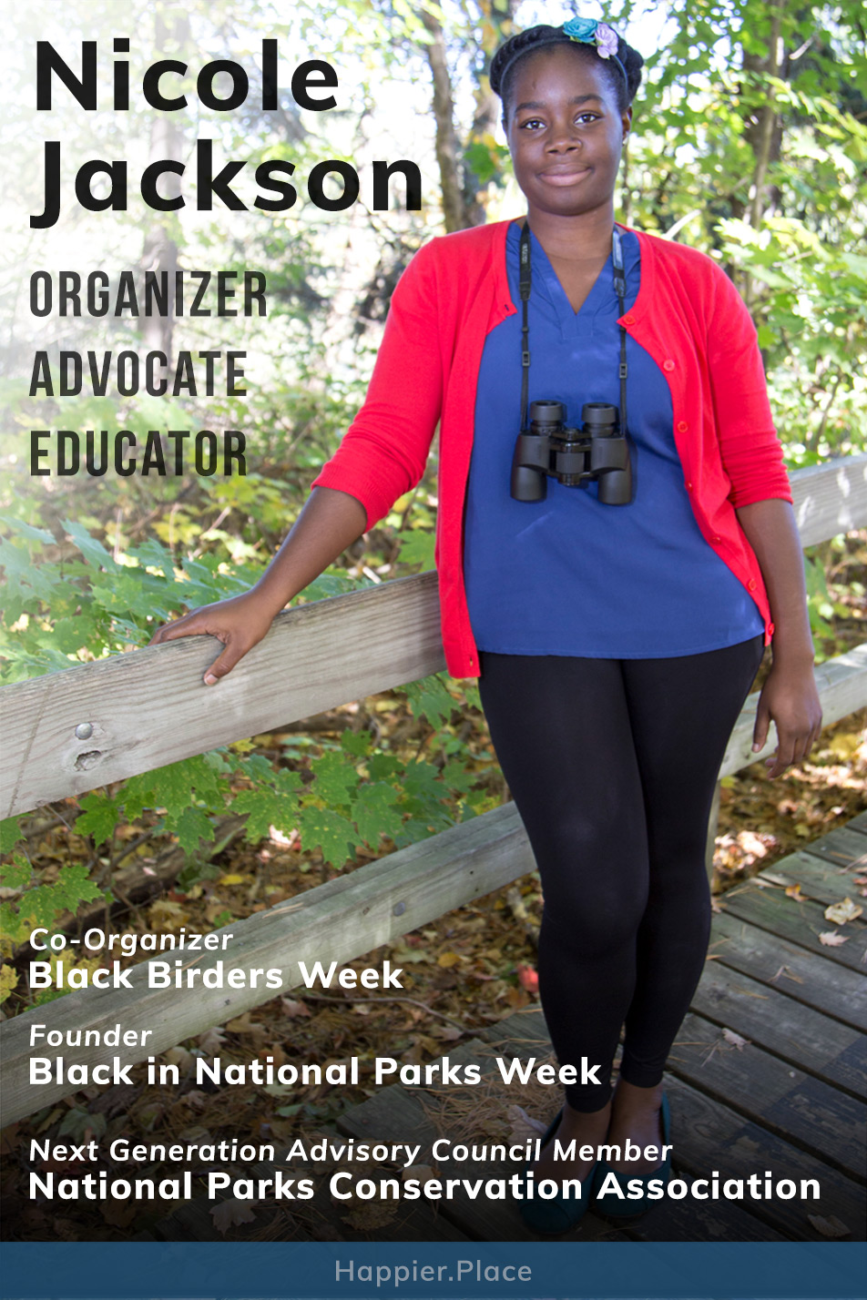 Founder of Black in National Parks Week, co-organizer of Black Birders Week, National Parks Conservation Association advisory council member Nicole Jackson