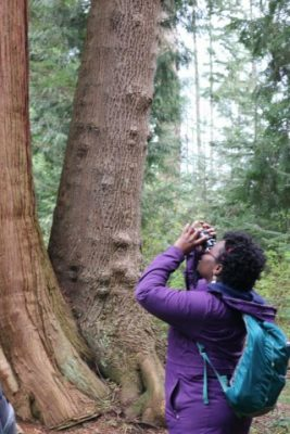Educator, advocate, organizer, Black in National Parks Week founder, National Parks Conservation Association council member Nicole Jackson birding in Vancouver.