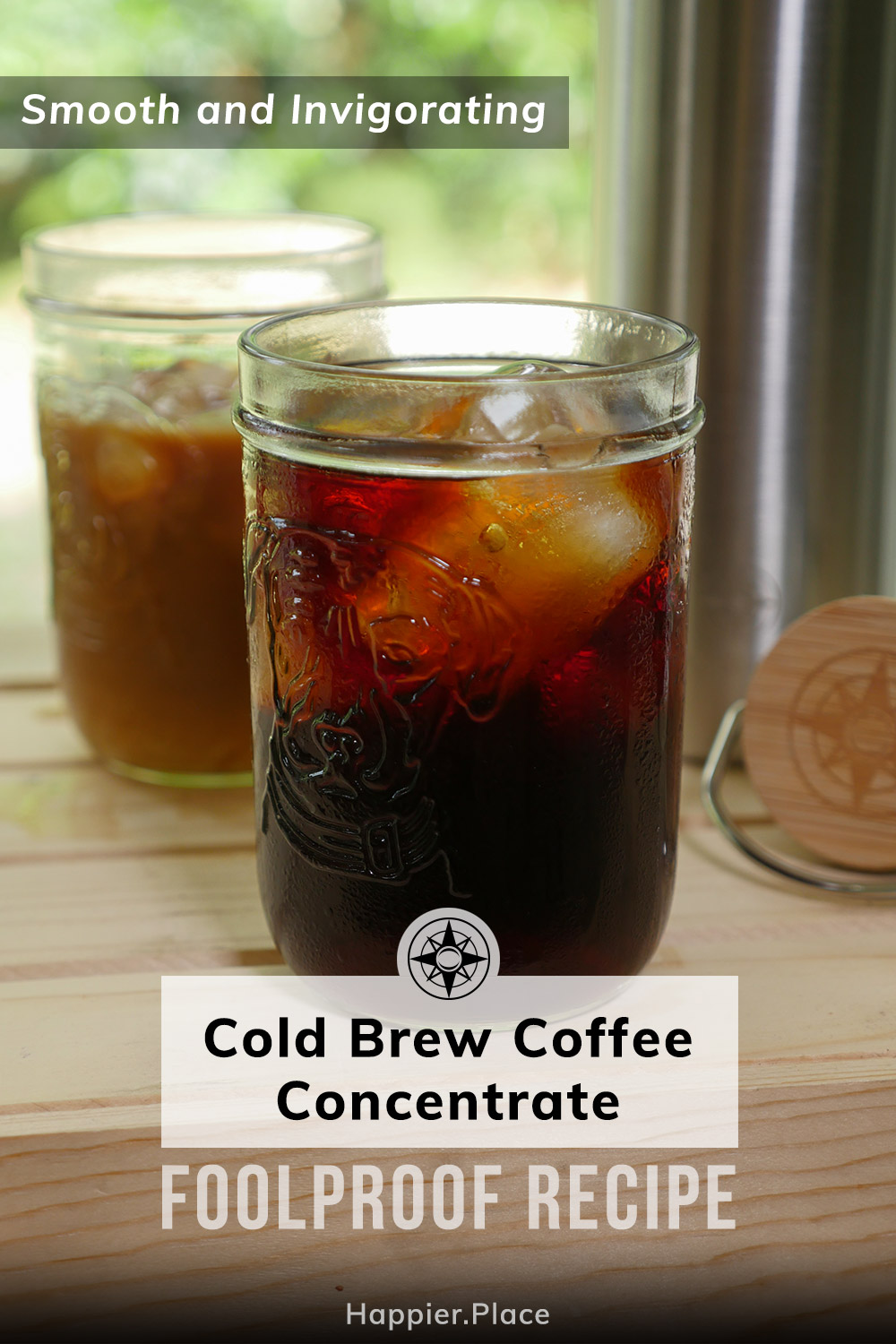 Foolproof cold brew coffee concentrate recipe - smooth and invigorating! Brought to you by Happier Place