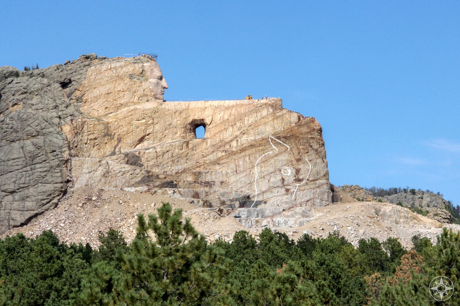 Crazy Horse Memorial, North American Indian and horse sculpture, world's largest mountain monument, Black Hills, South Dakota