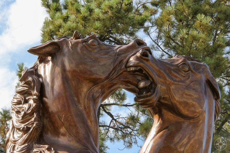 Fighting Stallions sculpture by Korczak Ziolkowski on the Crazy Horse Memorial Campus.