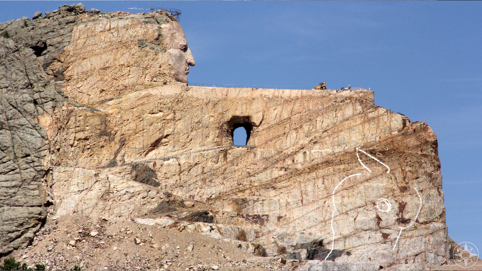 Closer look and a sense of scale, world's largest monument features North American Indian in South Dakota