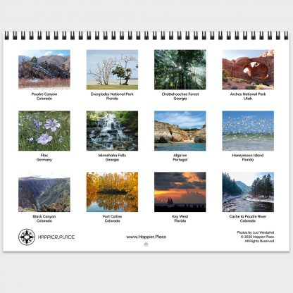 2021 Happier Place Nature Photography Calendar monthly photo wall calendar images