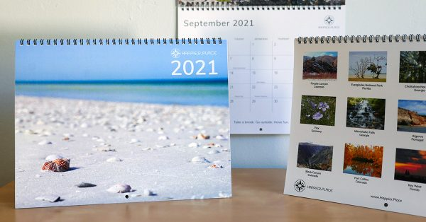 2021 Happier Place calendar, nature photography, beach to canyons, words of inspiration