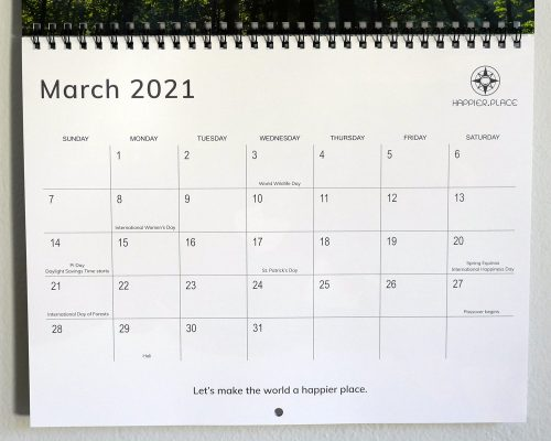 March 2021 calendar page, Happier Place nature calendar, let's make the world a happier place, holidays, wildlife day, forest day