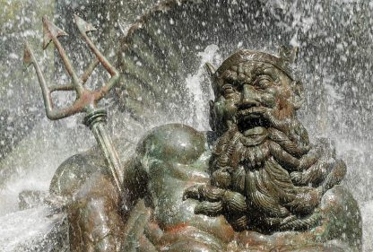 Happy laughing Neptune water fountain statue, Grand Army Plaza, Brooklyn, pic153: Neptune, postcard