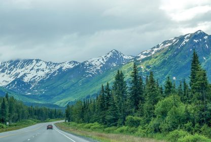 Alaska Highway, snow-covered, green mountains, Kenai Peninsula, pic157: Alaska mountain highway, postcard