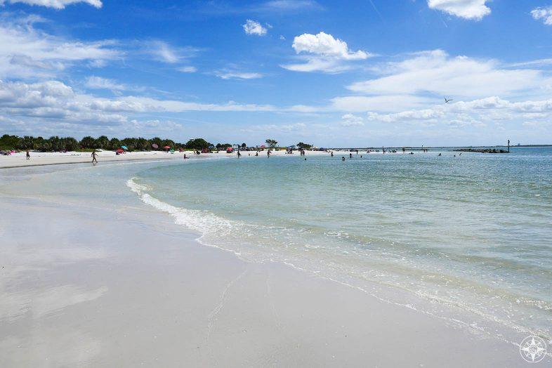 wide white beach with people, Honeymoon Island North Beach, State Park, Florida