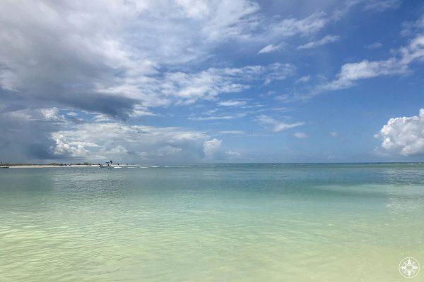 Caladesi Island seen across Hurricane Pass from the Honeymoon Island Pet Beach