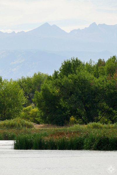 Rocky Mountains and foothills seen from St Vrain State Park, Colorado