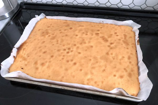 Lemon cake is ready to come out of the oven.