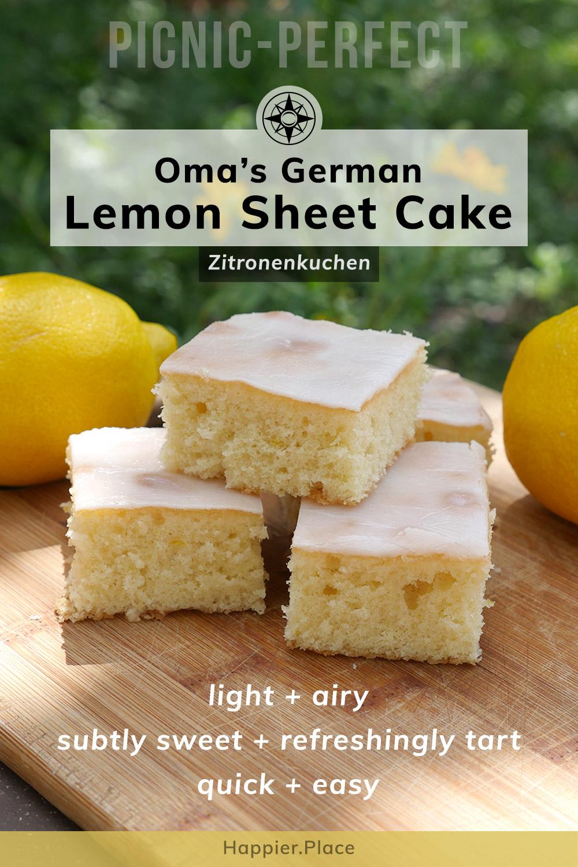 Light, Refreshing Summer Cake: Oma\'s German Lemon Sheet Cake (Zitronenkuchen)