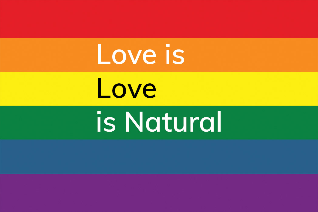 love is love is natural, happier place, card, pride rainbow, txt222