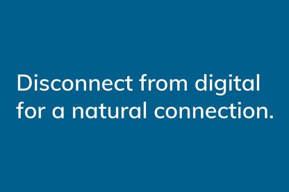 Connect from digital for a natural connection. - HappierPlace txt217 dark blue greeting card