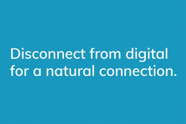 Connect from digital for a natural connection. - HappierPlace txt217 blue