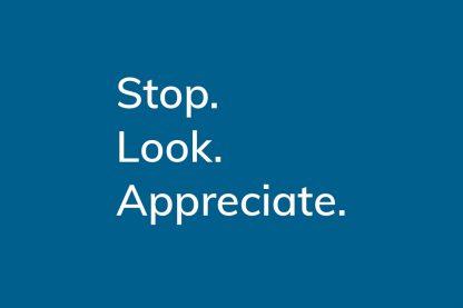 Stop. Look. Appreciate. - HappierPlace txt211 dark blue, greeting card, gratitude moment