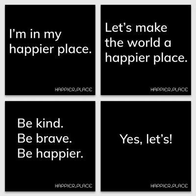 Make happier stickers, happier place, black