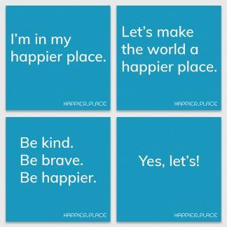 Make happier stickers, happier place, blue