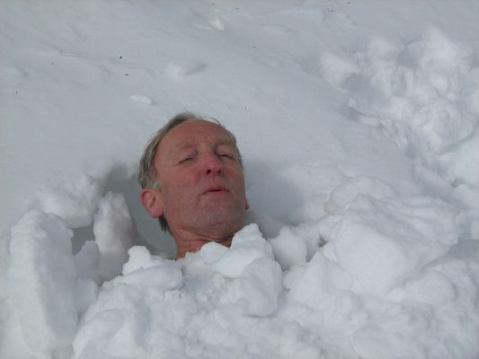 Outdoors Generations - Claude Heron, buried in snow, yoga