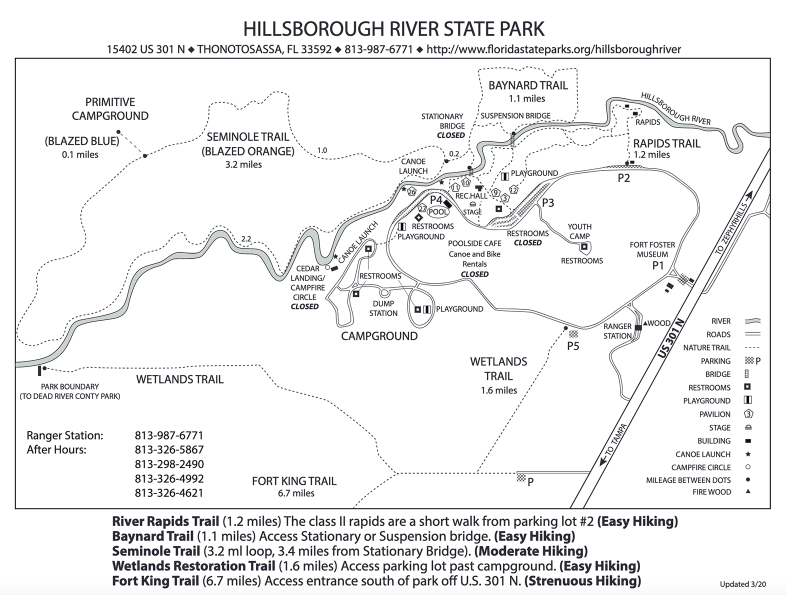 map, trails, river, campgrounds in Hillsborough River State Park, Florida