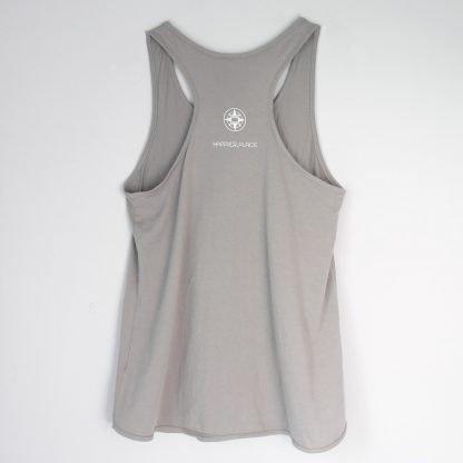 Back of Take a break. Go outside. Have fun. racerback tank top, grey, Happier Place logo compass without a needle