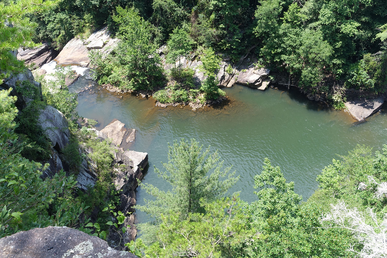 Swimming hole at the bottom of the gorge between the Tallulah Falls