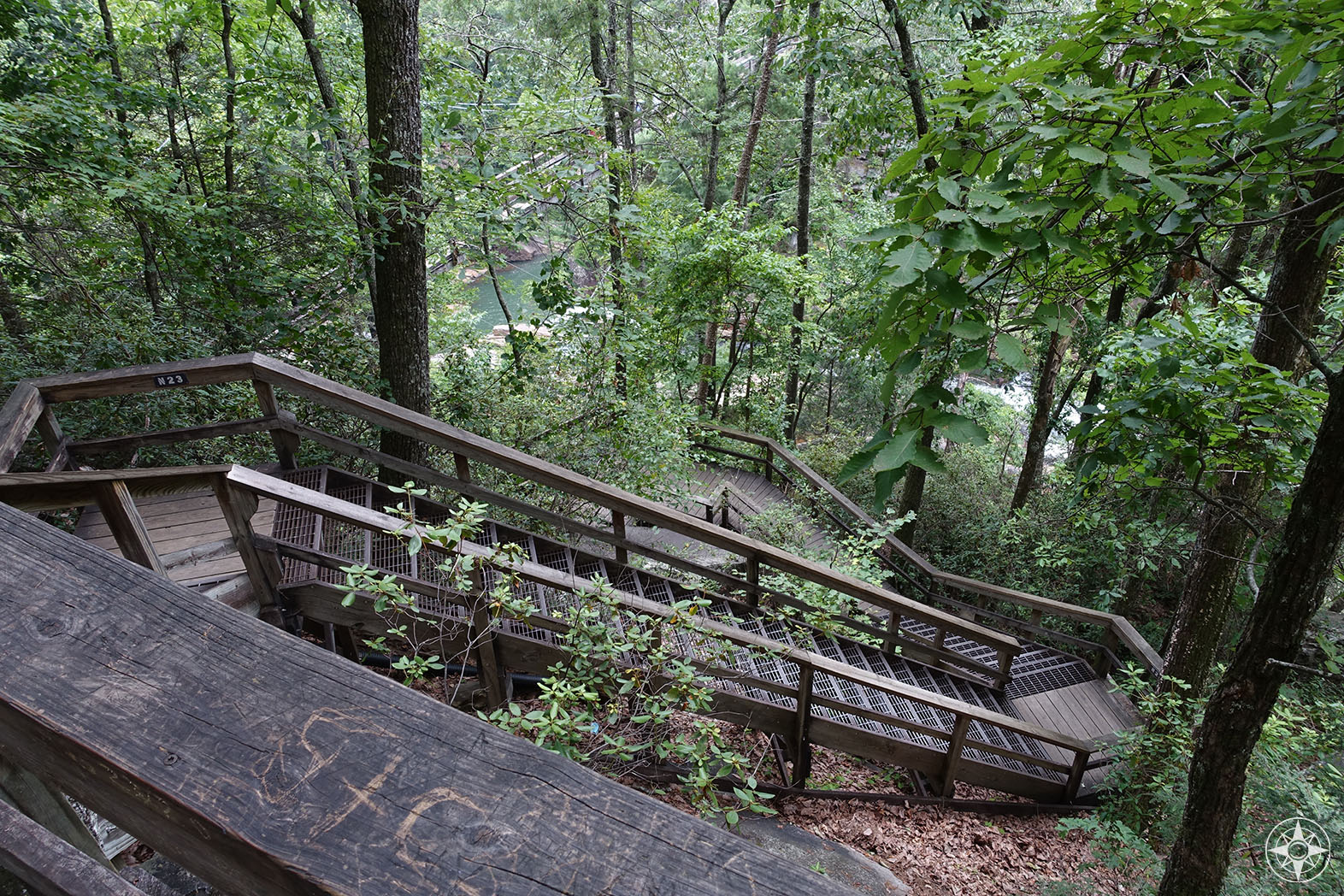 Tallulah Gorge Stairs, Staircase trail in the woods down to Tallulah Falls suspension bridge, 1000 steps, Hurricane Falls Trail