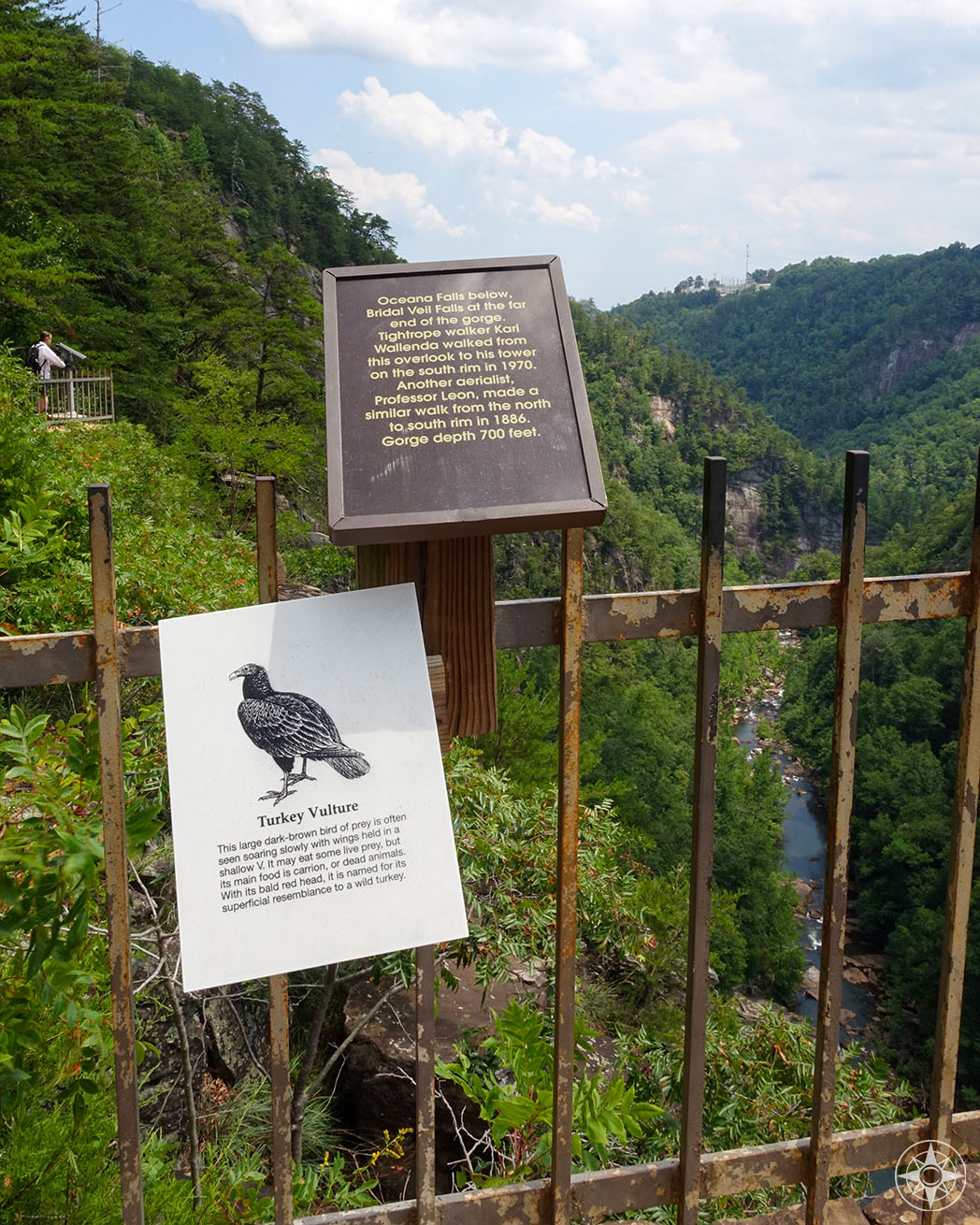 Informational signs can be found along the overlooks of the North Rim Trail, vulture, tightrope walker, waterfalls, Oceana Falls, Bridal Falls, Tallulah Falls