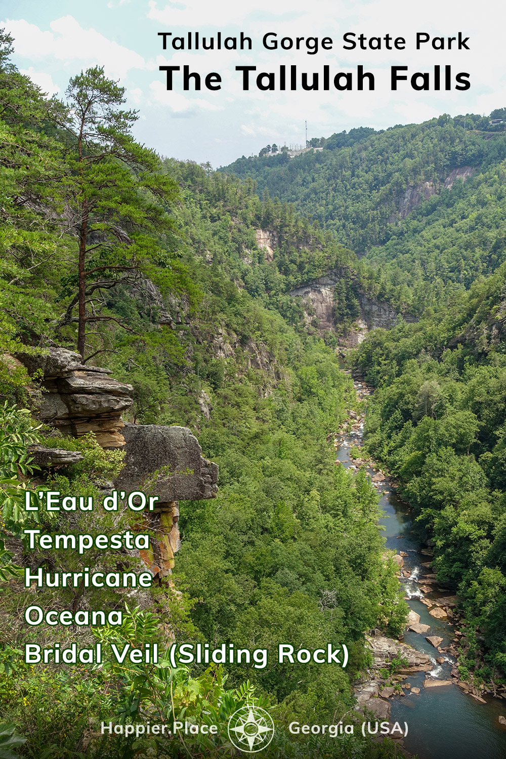 Five waterfalls of the Tallulah Gorge State Park, Georgia, USA, waterfalls, river, canyon, Happier Place