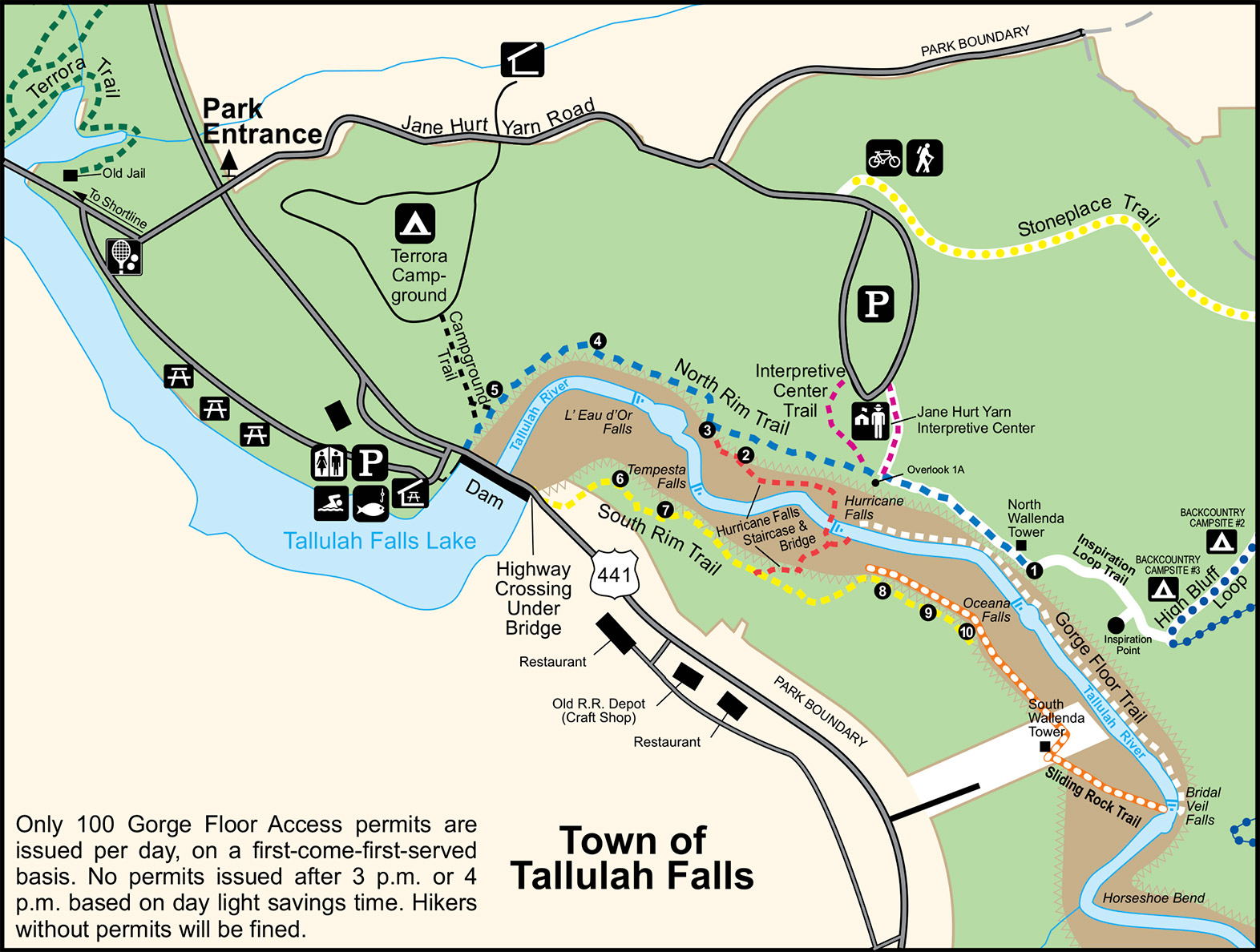 Tallulah Falls and Gorge State Park map with overlooks and trails, Georgia